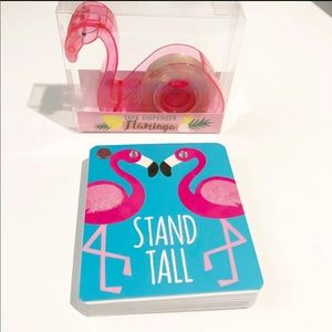 Flamingo tape dispenser and notepad bundle